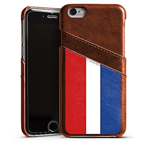 Apple iPhone 5s Housse Étui Protection Coque Pays-Bas Hollande Drapeau Étui en cuir marron
