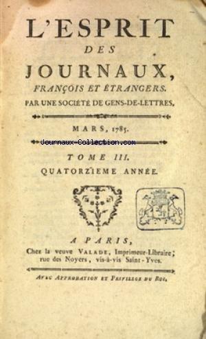ESPRIT DES JOURNAUX (L') du 01/03/1785