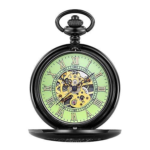 Jenify Clamshell Mechanische Taschenuhr Roman Geschnitzte Hohl-Klassiker Mechanische Uhr Männer Frauen Kette Taschenuhr,Green