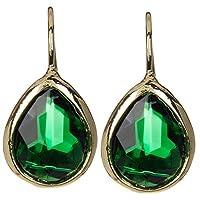 Emerald Quartz Gold Clad Pear Shaped Wholesale Gemstone Fashion Jewelry Hook Earrings