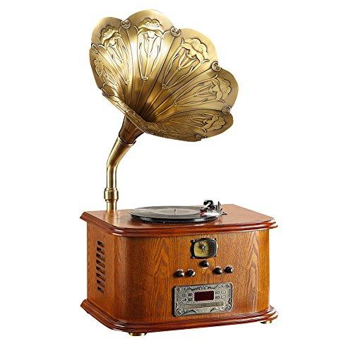 STG Gramophone Retro-Vintage antike großes Horn neues Holz Wohnzimmer europäischen klassischen Retro-Vinyl-Plattenspieler elektrische MLG56111 - Holz Vinyl Plattenspieler