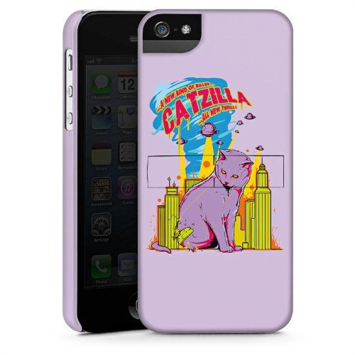 Apple iPhone 4 Housse Étui Silicone Coque Protection Catzilla Godzilla Chat CasStandup blanc