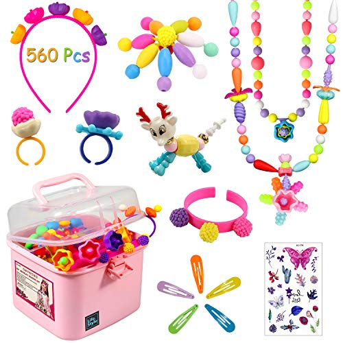 aovowog Pop Beads 560 PCS Joyería Snap Pop Beads DIY Kit Pulsera Anillo de Collar Juguetes Regalos de Cumpleaños de Juguetes para 3,4,5,6,7,8 Niños Niñas