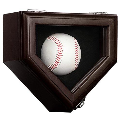 1 Baseball Display Case Gehäuse mit abschließba UV Schutz, Case Halter Shadow Box Wand Schrank-UV-Mahagoni,Vitrinen Schrank Shadow Box