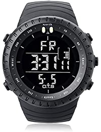OTS de los hombres del deporte del negocio de la muñeca relojes Electrónica de movimiento de cuarzo resistente al agua Military Digital Casual con retroiluminación LED, color negro