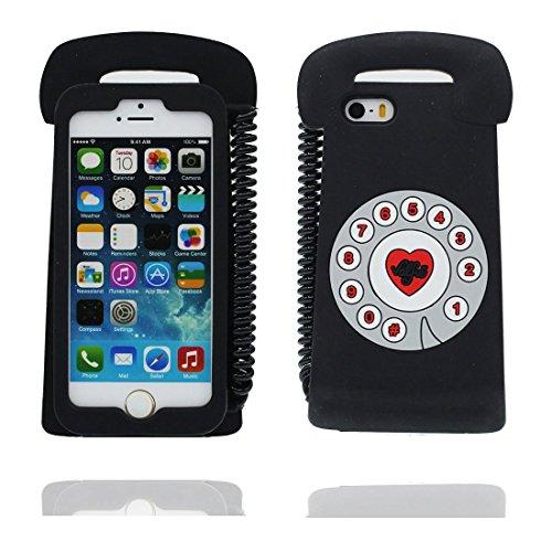 iPhone 5S Hülle, [ flexibles TPU materielles Einhorn unicorn Soft ] Handyhülle für iPhone 5G 5 SE 5C, Staub-Beleg-Kratzer beständig, haltbare weiche case Schwarz 2