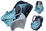 babees Nid d'ange Minky Coque bébé Siège auto Couverture [Forêt bleu + gris]