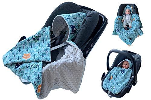 BABEES© Einschlagdecke für Babyschale Autositz, Universal z.B. Maxi-Cosi Römer Cybex, Frühling Sommer Minky Baby Decke mit Klettverschluss für Kinderwagen Babytragen Babybett ohne Füllung dünn