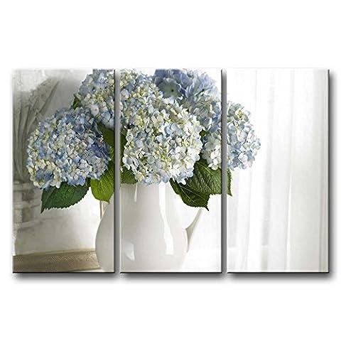 3Panel Art Wand Bild Hortensie in weiß Vase Bilder Prints auf Leinwand Blume der Decor Öl für Home Moderne Dekoration Print für Mädchen Raum