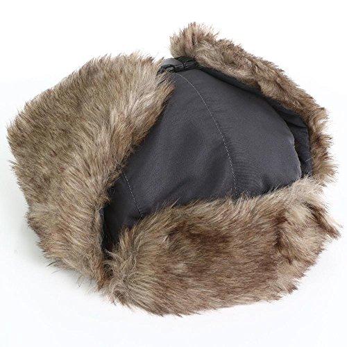 Popamazing Russian Style Mens Faux Fur Lined Trapper Hat, Winter Waterproof