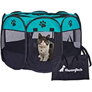 XianghuangTechnology Soft Fabric Portable Foldable Pet Dog Cat Puppy Playpen, Indoor/Outdoor use Pet Kennel Cage (Blue)
