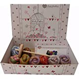 Heidifeathers® Drop Spindle Spinning Kit - Merino and Dyed Bamboo Wool Blend