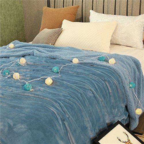 WDZA Couverture Double Corail Épaississement De Printemps Et d'automne Pan Cashmere Velvet Plus Feuilles, 150X200Cm, Bleu B.