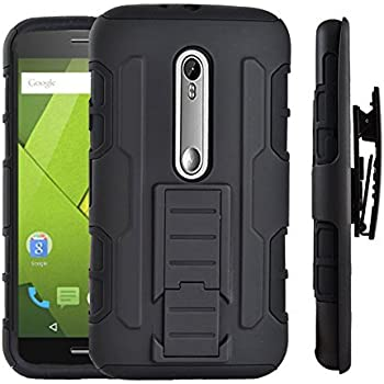 Ziaon Robot Case Black Rugged Impact Armor Cover With Belt Clip Holster Case For Motorola Moto X Play - Latest Version With Kickstand Function
