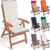Detex® 6x Stuhlauflage | 6er Set | Rückhaltebänder | Wasserabweisend | Hochlehner Auflage Sitzauflage Stuhlkissen Polsterauflage Vanamo | Farbauswahl | Creme-Anthrazit |