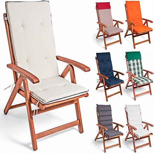 6x Deuba Stuhlauflage Hochlehner Sitzauflage Vanamo Stuhlkissen Polsterauflage Set Orange