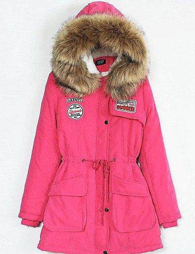 ZHUDJ 10 Farben Neue Frauen Winter'S Cotton Candy Color Winter Hooded Jacket Fashion Girls Gepolsterte Schlanken Langen Mantel Jacken, L-Fuchsia (Fuchsia Cotton Candy)
