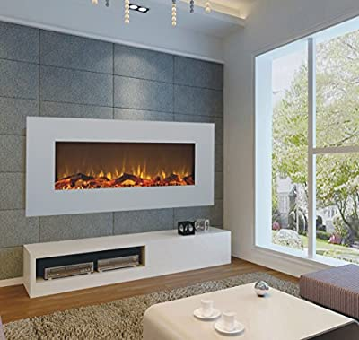TruFlame 2018 NEW PREMIUM PRODUCT 50inch White Wall Mounted Electric Fire with 10 colour Flames and side LEDs (Pebbles, Logs and Crystals)!