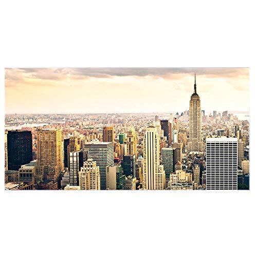 banjado Glas Nischenrückwand für Küche 100cm x 50cm   Küchenrückwand mit Motiv New York City   Spritzschutz selbstklebend ohne Bohren   Fliesenspiegel magnetisch und beschreibbar