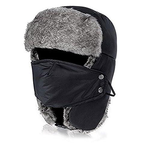 pusheng Trappeur d'hiver unisexe aviateur Trooper des rabats neige chaud Bonnet de ski avec masque noir Noir