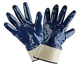12 PAAR - CHEMNITZ, 5-Fg. Sicherheitshandschuhe Nitril blau, vollbeschichtet. Chemie-, Wasserabweisend. Universeller Arbeitshandschuh Gartenhandschuh - Größe: 10