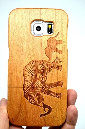 Coque Galaxy S6 Coque de Protection pour Samsung Galaxy S6 (Cerisier Deux Éléphants) - Collecte de Bois (TM) Étui de Protection en Bois et Couverture de Téléphone pour Votre Smartphone et Tablette
