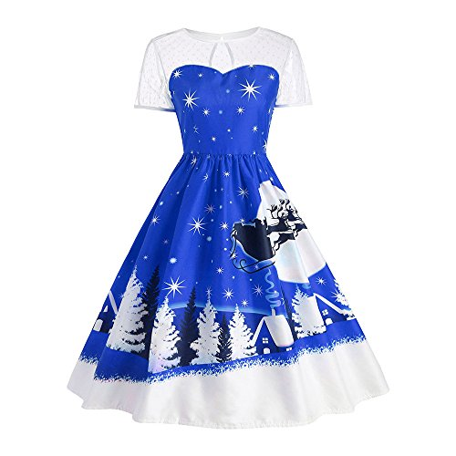 Weihnachten Kostüm Damen Kleider Kurzarm Bekleidung Loveso Sankt Schlitten Elch Muster Frauen Kleid Freizeitkleid Partykleid Abendkleid (S, Blau)