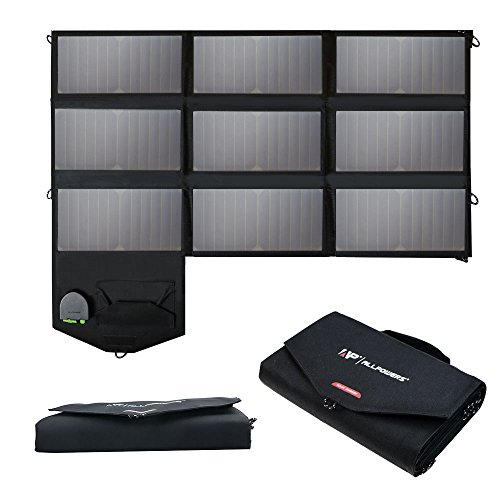 ALLPOWERS 60W Solar Panel Faltbare SunPower Solar Ladegerät (Dual 5V USB mit iSolar Technologie + 18V DC Ausgang) für Laptop, Tablet, iPad, iPod, Smartphone, iPhone, Samsung, Acer, Asus, Dell, HP, Toshiba, Lenovo Notebooks, Laptops und 12V Auto, Boot, RV Batterie.
