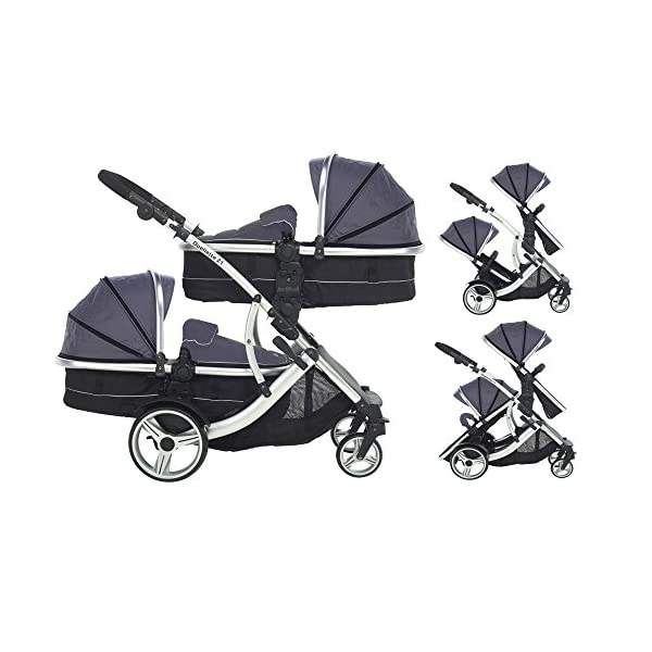 Kids Kargo Duellette Combi Suitable from Newborn. Carrycot Converts to Seat Unit. Dooglebug Silver Kids Kargo Demo video please see link https://www.youtube.com/watch?v=X_tEcnQ8O8E%20 Suitability Newborn - 15kg (approx 3 yrs). Carrycot converts to seat unit incl mattress Carrycot & car seats fit in top or bottom position. Compatible car seats; Kidz Kargo 0+, Britax Babysafe 0+ (no adapters needed) or Maxi Cosi adaptors 1
