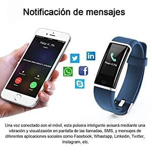 HOMSCAM Pulsera Inteligente, Pulsera Actividad Impermeable IP68 con Monitor de Calorías, Monitor de Ritmo Cardíaco, Captura de cámara, Notificación de Mensajes para Android y iOS Teléfono móvil