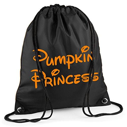 Kürbis Prinzessin Halloween Kordelzug Tasche Rucksack Wasserdicht Sweet Turnbeutel PE Duffle Schule Kinder Jungen Mädchen Zug Sack, schwarz (Schule Mädchen Halloween Kostüm Für Kinder)