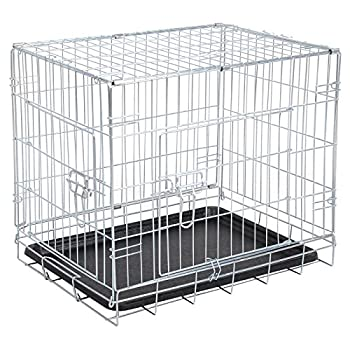 WOLTU® HT2080sb5 Cage de chien pliable en fer avec 2 portes cage de transport de voiture pour pets 122*76*81 cm,Argent