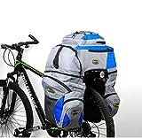 3 in 1 Doppia Borse per Bici Bicicletta per il Porta Pacchi Posteriore, 65L Zaini, Borse e Borse Laterali Biciclett per Ciclismo Impermeabilità e Resistenza allo Strappo con Cappotto di Pioggia (Blu) immagine