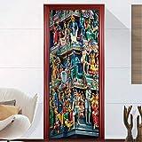 ZDDBD Etiqueta De La Puerta Templo Sagrado DIY Autoadhesivo Puerta Pegatinas para La Sala De Estar Dormitorio Decoración del Hogar Cartel De Papel Tapiz A Prueba De Agua 90 * 200Cm
