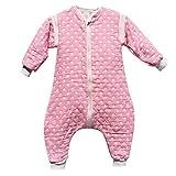 DaiShuGuaiGuai Baby Ganzjahres Schlafsack mit Füßen (Rosa) (Runder Punkt) (L 80-90CM)
