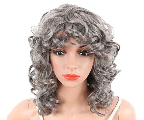 GAIHU Kurze graue Curly Mode Perücke Synthetische leicht Flauschig Lockig wellig Spitze vordere Hälfte Hand gebunden Perücken hohe Temperatur Fibre Haare für Frauen Lady