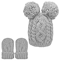 Adventure Togs Baby Knitted Hat & Mittens Set - Boys & Girls, Cable Chunky Knit for Winter - Size 0-12 Months - Grey