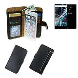 K-S-Trade Für Archos Sense 55 S Portemonnaie Schutz Hülle schwarz aus Kunstleder Walletcase Smartphone Tasche für Archos Sense 55 S - vollwertige Geldbörse mit Handyschutz
