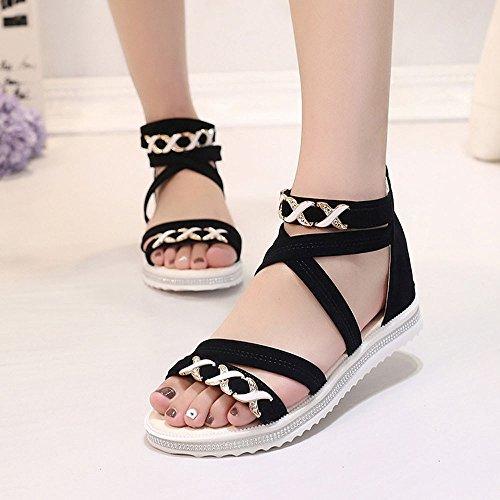 Preisvergleich Produktbild Keilabsatz Sandalen für Frauen liusdhWomen Flat Shoes Summer Soft Leather Leisure Ladies Sandals(BK, 40)