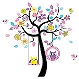 Wandtattoo Wandaufkleber Wandsticker Kinderzimmer mit Eulen Baum auf Schaukel und Vögel. Wandbild für Mädchen oder Baby Zimmer. Wanddeko Wandtattoobaum.