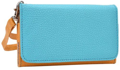 Kroo esamwlb1Epi-Slim Clutch Wallet Schutzhülle aus Leder für Smartphone, Gelb und Blau, Up to 4 Inch