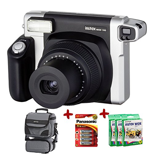 x 300 Wide Instant Camera +100-Shot Fuji Wide Film + Smart Carry Case + Panasonic Gold Batteries (Polaroid Instax Wide Film)