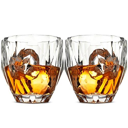 Whiskey Gläser Set–Set of 2, 8oz Double Old Fashioned Whisky Gewichteter Gläser für Wein, Bourbon, brandy, Whisky, Scotch etc. Mit magnetischer Geschenk Box Hohe Klarheit Irish Trinkgläser (Fashioned Old Double Gläser)