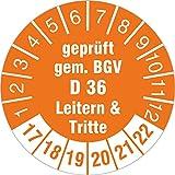 50 Stück Prüfplaketten geprüft gem. BGV D 36 Leitern & Tritte 2017-22 30 mm Rollenware selbstklebend Prüfetiketten orange