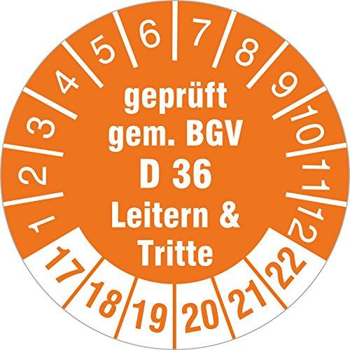 100 Stück Prüfplaketten geprüft gem. BGV D 36 Leitern & Tritte 2017-22 30 mm Rollenware selbstklebend Prüfetiketten orange (Leiter 30)