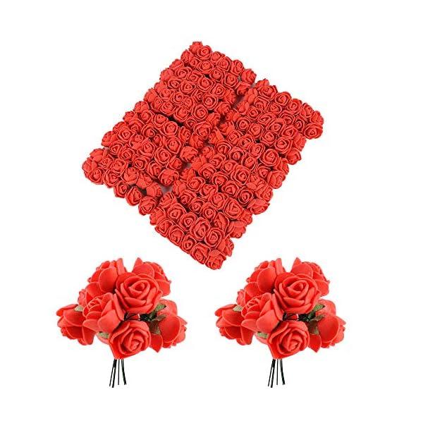 BUONDAC 144pcs Mini Rosas Flores Ramos de Rosas Artificiales en Espuma para Manualidades Decoración de Boda Fiesta…