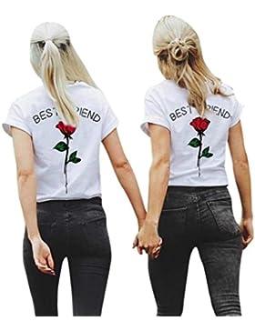 QinMM Best Friend Rose Camiseta de Las Mujeres y Niña, Camisa Manga Corta Tops