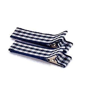 1 Paar hochwertige Haarspangen dunkelblau kariert – mit Stoff bezogen – KEIN ZIEPEN – Viele Variantionen – Made in Gemany