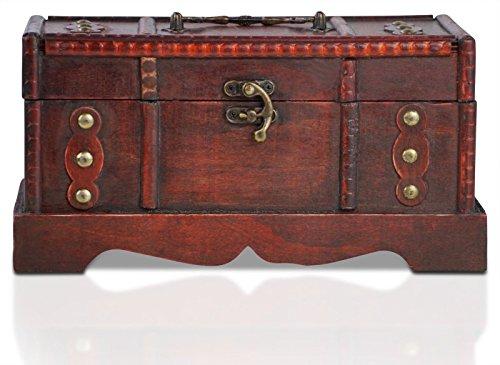 Generic * Reasure Che Bois Métal trésor C Boîte de Rangement Pirate Coffre au trésor Pirate T GE Box W Jouet Cadeau Jeu Jeu T Play Jeu Vintage Jeu Cadeau Enfant Jeu