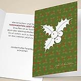 100er Set Elegante Unternehmen Weihnachtskarten grün mit Mistel Silhouette auf Weihnachts Muster, mit ihrem Innentext (Var10) drucken lassen, als Weihnachtsgrüße geschäftlich / Neujahrskarte / Firmen Weihnachtskarte für Kunden, Geschäftspartner, Mitarbeiter: -